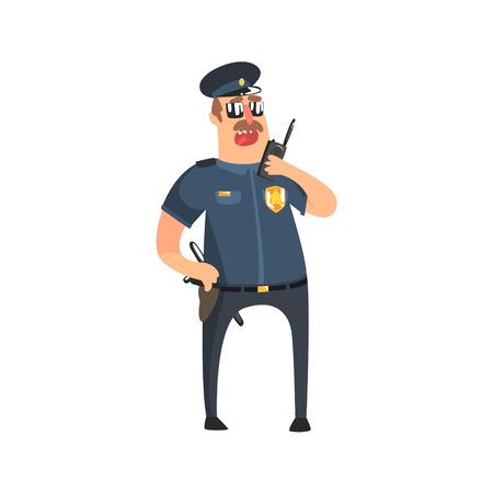 servicios publicos: Policía en uniforme del poli americano con Porra, Radio, Pistolera Y Gafas En declaraciones a walkie-talkie. Carácter oficial de policía de la ciudad de la diversión de la historieta en el clásico traje En La Ilustración Duty. Vectores
