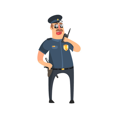 holster: Policeman In American Cop Uniform With Truncheon, Radio, Gun Holster And Sunglasses Speaking To Walkie-Talkie. City Police Officer Fun Cartoon Character In Classic Outfit On Duty Illustration. Illustration