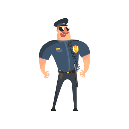 patrolman: Policeman In American Cop Uniform With Truncheon, Radio, Gun Holster And Sunglasses Standing Talking Into Walkie-Talkie With Wire. City Police Officer Fun Cartoon Character In Classic Outfit On Duty Illustration.
