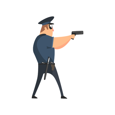 Policeman In American Cop Uniform With Truncheon, Radio, Gun Holster And Sunglasses Covering The Area With Pistol. City Police Officer Fun Cartoon Character In Classic Outfit On Duty Illustration. Illustration