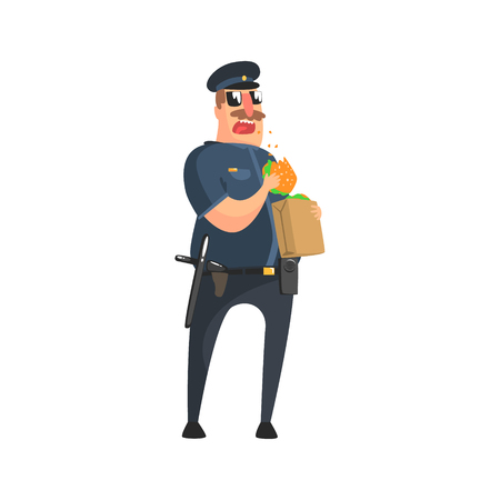 patrolman: Policeman In American Cop Uniform With Truncheon, Radio, Gun Holster And Sunglasses Having Lunch From Paper Bag. City Police Officer Fun Cartoon Character In Classic Outfit On Duty Illustration.