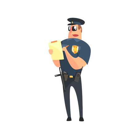 holster: Road Policeman In American Cop Uniform With Truncheon, Radio, Gun Holster And Sunglasses Writing A Ticket. City Police Officer Fun Cartoon Character In Classic Outfit On Duty Illustration.