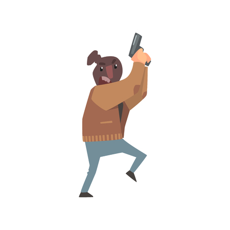 holding gun to head: Criminal With The Sock On Head Holding Gun Committing A Crime Robbing The Bank.
