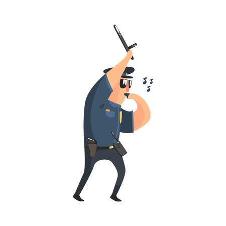 patrolman: Policeman In American Cop Uniform With Truncheon, Radio, Gun Holster And Sunglasses Whistling. City Police Officer Fun Cartoon Character In Classic Outfit On Duty Illustration.