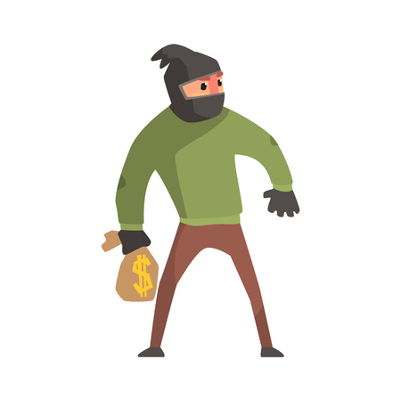 robbing: Criminal With The Sock On Head Holding Money Bag Committing A Crime Robbing The Bank.