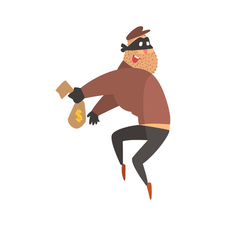 robbing: Criminal Wearing Mask Holding Money Cloth Bag Getting Away With A Crime Robbing The Bank.