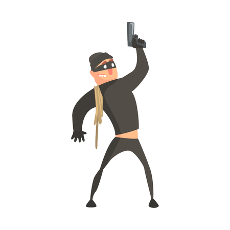 Criminal With Rope Wearing Mask Firing Gun In The Air Committing A Crime Robbing The Bank. Illustration