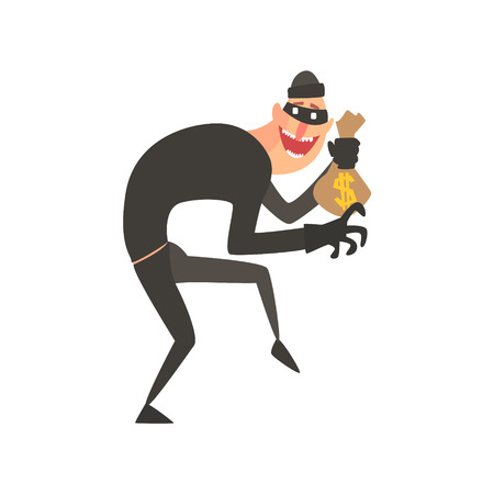 thieving: Criminal Wearing Mask Holding Money Bag Tiptoeing Committing A Crime Robbing The Bank.