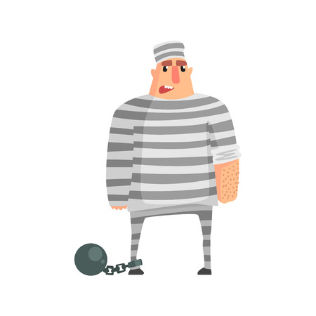 convicted: Criminal InStripy Prison Uniform Standing In Irons Caught And Convicted For His Crimes.