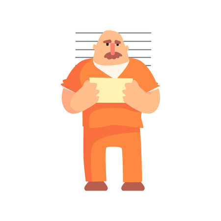 Criminal In Orange Prison Uniform Taking Picture With Prison Number Caught And Convicted For His Crimes.