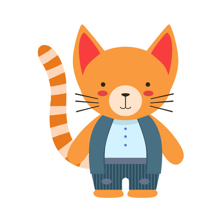 cheek: Red Cat In White Top And Vest Cute Toy Baby Animal Dressed As Little Boy. Illustration