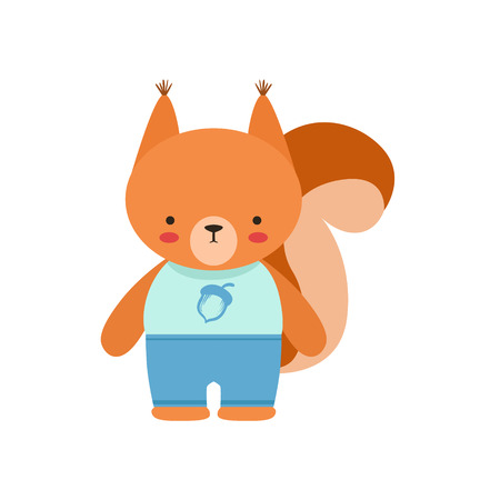 Squirrel In Blue Top With Acorn Print And Blue Pants Cute Toy Baby Animal Dressed As Little Boy.