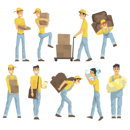 removal: Delivery And Moving Company Employees Carrying Heavy Objects, Delivering Shipments And Helping With Removal Set Of Illustrations. Illustration