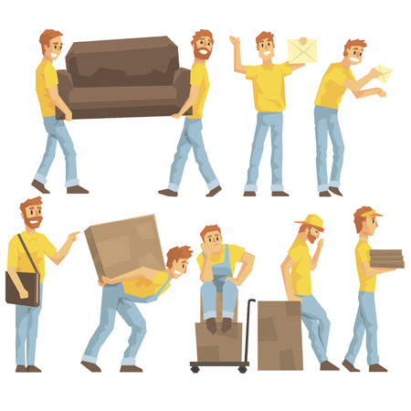 resettlement: Delivery And Moving Company Employees Carrying Heavy Objects, Delivering Shipments And Helping With Resettlement Set OF Illustrations. Illustration