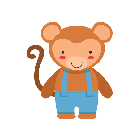 Monkey In Blue Pants With Suspenders Cute Toy Baby Animal Dressed As Little Boy. Illustration