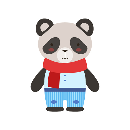 baby toys: Panda In Red Scarf And Blue Pants Cute Toy Baby Animal Dressed As Little Boy. Illustration