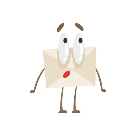 interested: Surprised Humanized Letter Paper Envelop Cartoon Character Emoji Illustration Illustration