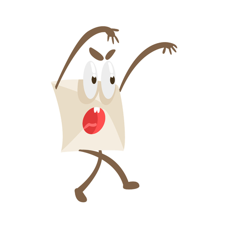 scaring: Intimidating Humanized Letter Paper Envelop Cartoon Character Emoji Illustration