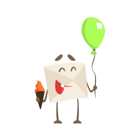 Humanized Letter Paper Envelop Holding Balloon And Ice-Cream Cartoon Character Emoji Illustration Illustration