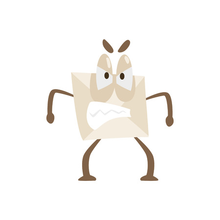 Enraged Humanized Letter Paper Envelop Cartoon Character Emoji Illustration Illustration