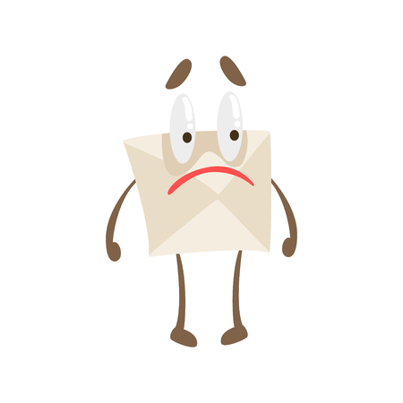 Disappointed Humanized Letter Paper Envelop Cartoon Character Emoji Illustration