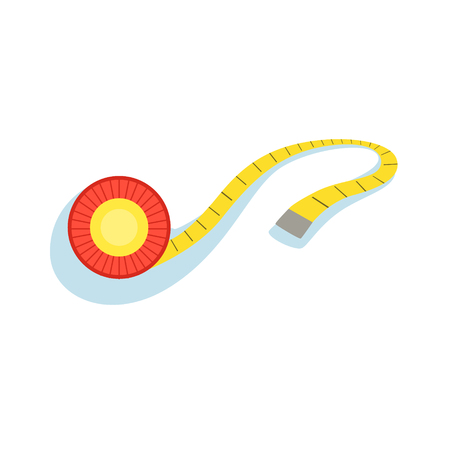 Yellow Measuring Tape For Checking The Distance And Monitoring Shape Improvement Progress Illustration From The Fitness Essentials Collection.  イラスト・ベクター素材
