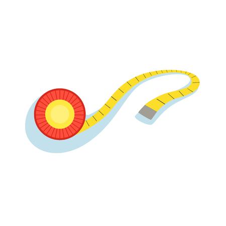 Cinta métrica amarilla para verificar la distancia y monitorear la ilustración del progreso de la mejora de la forma de la colección Fitness Essentials.