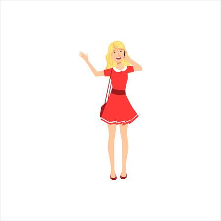 행복 한 예쁜 금발 소녀 빨간 드레스 채팅 Ohe 휴대 전화, 여성의 부분 다른 라이프 스타일 컬렉션입니다. 일러스트