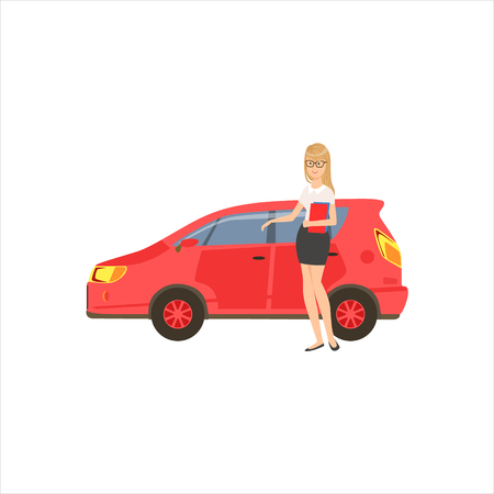 Happy Self-made Business Lady With Her Red Car In Office Dress Code Outfit Clothing, Part Of Women Different Lifestyles Collection.