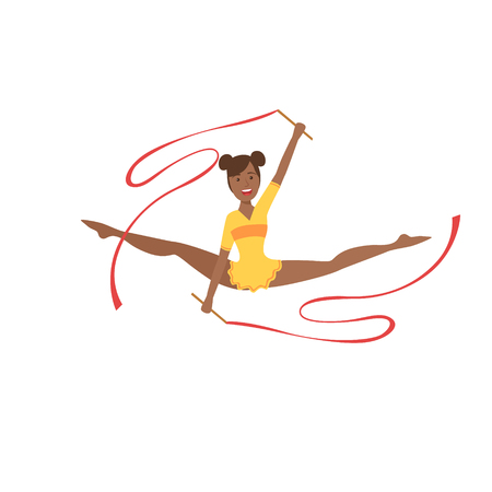 rehearsal: Black Professional Rhythmic Gymnastics Sportswoman In Yellow Leotard Performing An Element With Two Ribbons Apparatus.