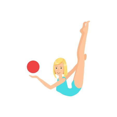 sportswoman: Blond Professional Rhythmic Gymnastics Sportswoman In Blue Leotard Performing An Element With Ball Apparatus.