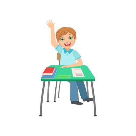 scholars: Schoolboy Sitting Behind The Desk In School Raising Hand To Answer Illustration, Part Of Scholars Studying Collection