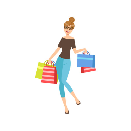 girl wearing glasses: Happy Shopaholic Girl With Paper Shopping Bags Wearing Dark Glasses, Part Of Women Different Lifestyles Collection.