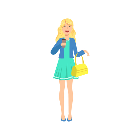 sipping: Happy Pretty Blond Girl In Blue Dress Sipping Coffee, Part Of Women Different Lifestyles Collection. Illustration