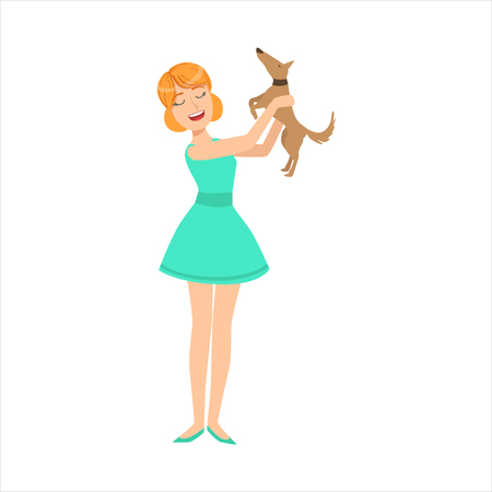 dag: Pretty Girl In Blue Dress Playing With Her Smal Brown Pet Dog, Part Of Women Different Lifestyles Collection.