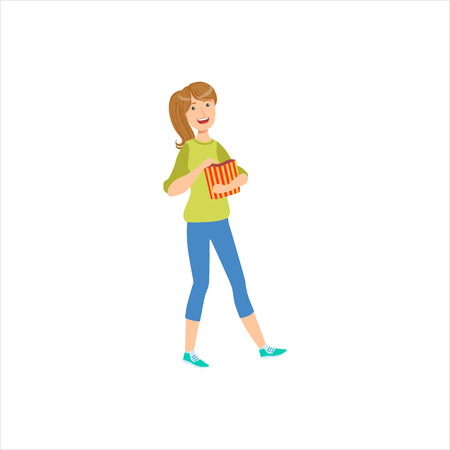 Happy Girl Going To The Cinema With Paper Popcorn Bag, Part Of Women Different Lifestyles Collection.