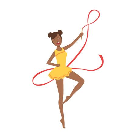 turnanzug: Schwarz-Berufs Rhythmische Gymnastik Sportlerin Im Gelben Trikot Performing ein Element mit Band Gerät. Illustration