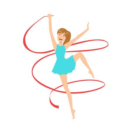 sportswoman: Professional Rhythmic Gymnastics Sportswoman In Blue Dress Performing An Element With Ribbon Apparatus.