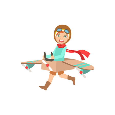 Little Boy In Vintage Pilot Leather Outfit Playing Piloting The Plane Game With The Costume Of The Airplane.
