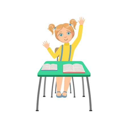 Schoolgirl Sitting Behind The Desk In School Class Raising Hand Wanting To Answer Illustration Illustration