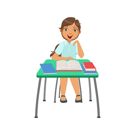 interested: Schoolgirl Sitting Behind The Desk In School Class Very Interested Illustration