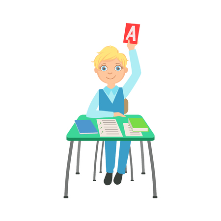 schoolkids: Schoolboy Sitting Behind The Desk In School Raising A Paper With Correct Answer Illustration