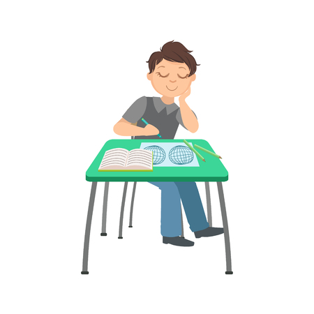 geographic: Schoolboy Sitting Behind The Desk In School Class Drawing In Geographic Map Illustration, Part Of Scholars Studying Vector Collection