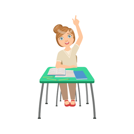 answering: Know-it-all Schoolgirl Sitting Behind The Desk In School Class Illustration