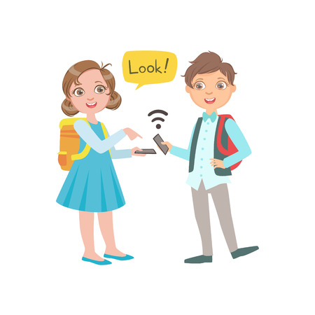Schoolkids Boy And Girl Chatting And Exchanging Information From Their Smartphones During School Break