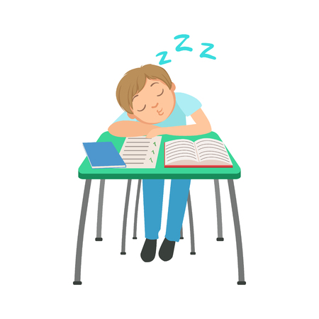 uninterested: Schoolboy Sitting Behind The Desk In School Class Sleeping On Notebooks Illustration Illustration