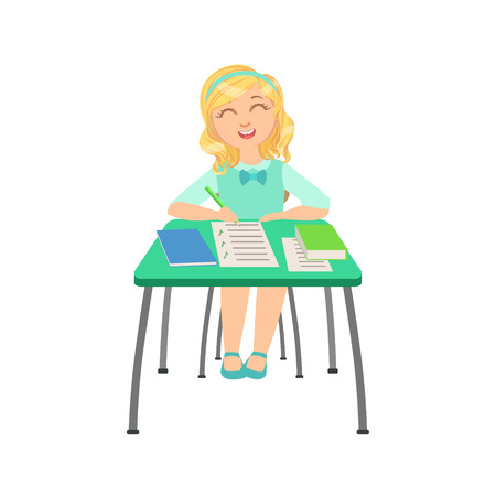 interested: Schoolgirl Sitting Behind The Desk In School Class Ticking Boxes In Test Paper Illustration