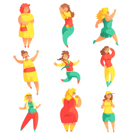 weighed: Happy Plus Size Women In Colorful Fashion Clothes Enjoying Life Set Of Smiling Over weighed Girls Cartoon Characters.