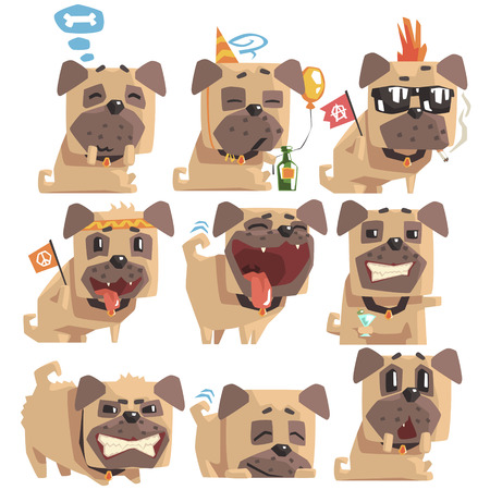 pissed off: Little Pet Pug Dog Puppy With Collar Collection Of Emoji Facial Expressions And Activities Cartoon Illustrations. Cute Small Animal Emoticons In Stylized Geometric Design. Illustration