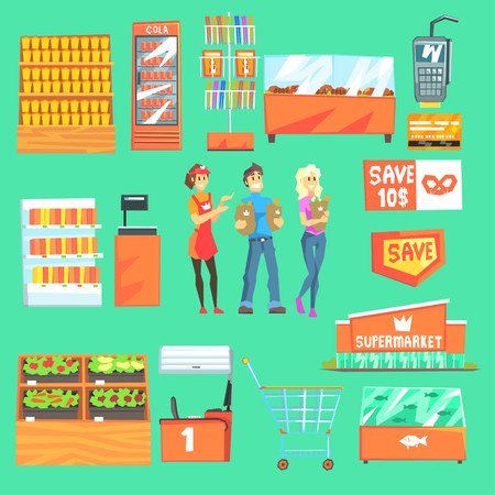 attributes: People Shopping For Groceries In Supermarket Surrounded By Shop Attributes Set Of Illustrations.